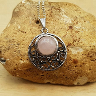 Filigree circle Rose Quartz pendant necklace. January Birthstone.