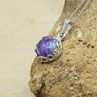 Tiny Charoite pendant necklace. Purple Reiki jewelry. Flower and leaf edging