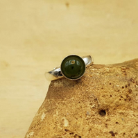 Simple round Nephrite Jade ring. 925 sterling silver. Green Reiki jewelry uk