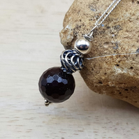 Small Garnet pendant necklace. Reiki jewelry uk. January birthstone