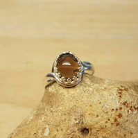 Oval Smoky Quartz adjustable ring. 925 sterling silver rings for women