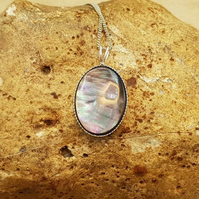 Black lip mother of pearl pendant. 925 sterling silver necklaces for women