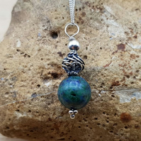 Small Chrysocolla pendant necklace