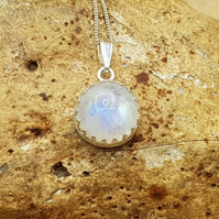 Rainbow Moonstone Pendant. 925 sterling silver necklaces for women
