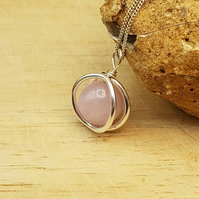 Pink Kunzite circle pendant necklace. Sterling silver