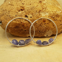 Tanzanite sleeper hoop earrings. December Birthstone. 925 sterling silver