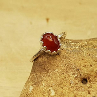 Minimalist Carnelian ring. July birthstone ring. 17th anniversary