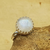Rainbow moonstone adjustable Ring. June Birthstone