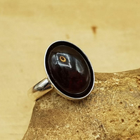 Garnet Ring. January birthstone. Adjustable sterling silver rings for women