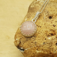 Rose Quartz pendant necklace. January Birthstone. 5th anniversary gemstone