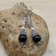 Dangle Black Jet cone earrings. Reiki jewelry