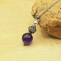 Small Amethyst Pendant Necklace. February birthstone