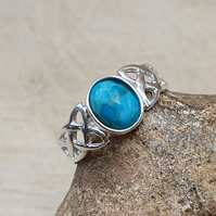 Celtic knot Turquoise ring. December Birthstone