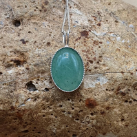 Small simple oval Green Aventurine pendant Necklace. Reiki charged