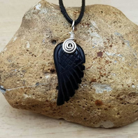 Black Obsidian angel wing pendant necklace. Unisex Reiki jewellery