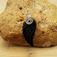 Black Obsidian angel wing pendant. Reiki jewelry uk