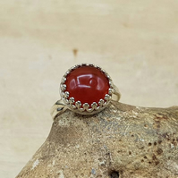 Adjustable Carnelian ring. Red July birthstone. 17th anniversary