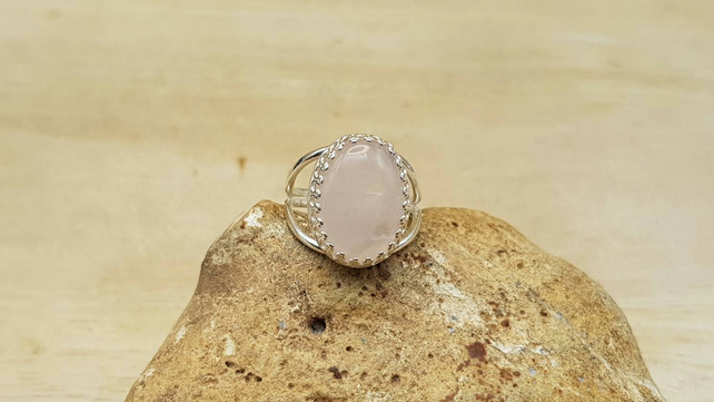 Rose Quartz adjustable ring. 925 sterling silver crown edge. January Birthstone.