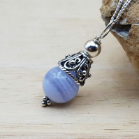 Small Blue lace agate pendant necklace. Pisces jewellery