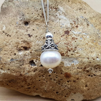 Freshwater pearl cone pendant necklace. June Birthstone