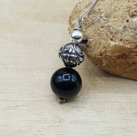Black Onyx sphere Pendant necklace. December birthstone. Reiki jewelry.