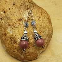 Rhodonite cone earrings. Bali silver. Reiki jewelry. Taurus jewelry