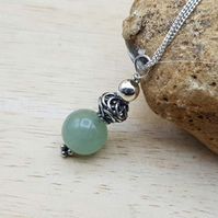 Small Green Aventurine pendant necklace. Bali silver beads. Reiki jewelry