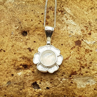 Tiny Rainbow Moonstone flower Pendant. Reiki jewellery. June birthstone