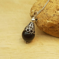 Black Onyx cone Pendant. December birthstone. 7th anniversary