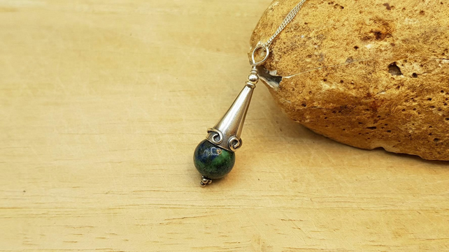 Rare Azurite cone pendant necklace. Blue green stone
