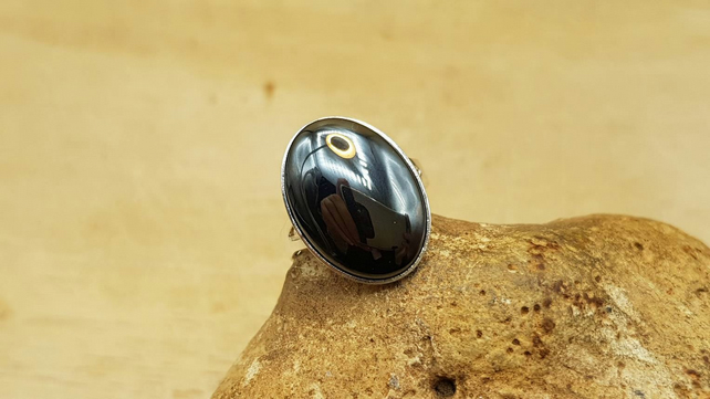 Adjustable Hematite ring. 925 sterling silver rings for women