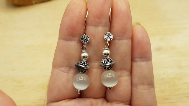 Selenite earrings. Crystal Reiki jewelry