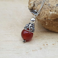 Minimalist Red Carnelian cone pendant. July birthstone necklace.