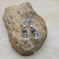 Clear quartz earrings. Bali silver bead earrings. April birthstone