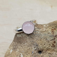 Minimalist Rose Quartz ring. January Birthstone. 5th anniversary gemstone.