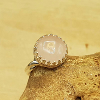 Pink Rose Quartz adjustable ring. 925 sterling silver rings for women