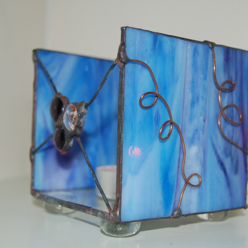 Blues and Copper Stained Glass Tea light