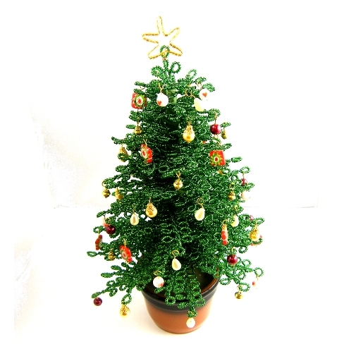 French Beaded Christmas Tree Complete With Pot Folksy