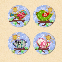 -- REDUCED -- Set of Four Feathered Friends Fridge Magnets - set 2
