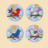 -- REDUCED -- Set of Four Feathered Friends Fridge Magnets - set 1