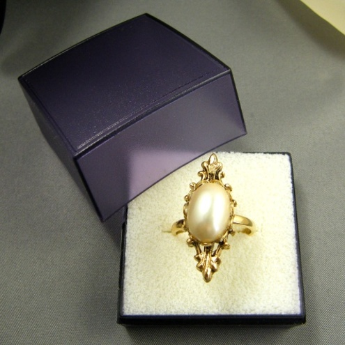 Vintage Glass Pearl Marquise Ring