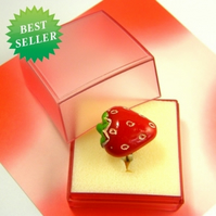 Truly Scrumptious Strawberry Adjustable Ring - Adult or Child size