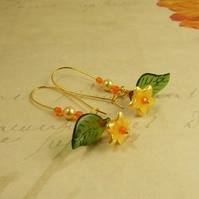Blossom Floral Earrings - Gold Plated