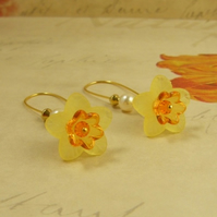 Daffodil Floral Earrings - Gold plated