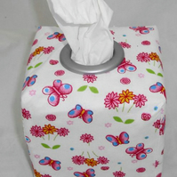 Reversible Tissue Box Cover - Butterflies