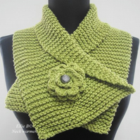 Hand knitted Neck Warmer with crochet flower - Apple