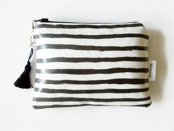 Stripe Print clutch, wallet, make-up or phone storage