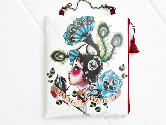 old school tattoo ipad 2&3 waterproof hanging bag