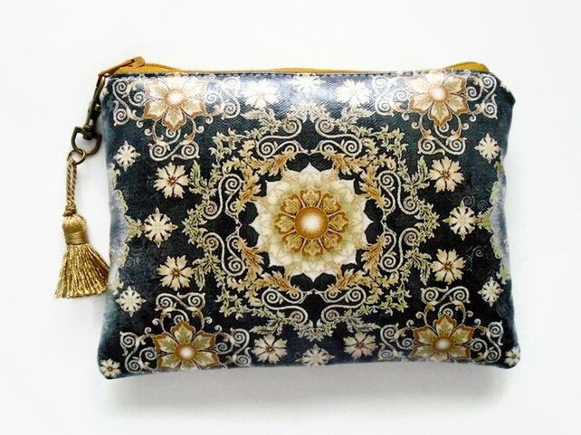 Black and Gold Ornate Ladies Wallet