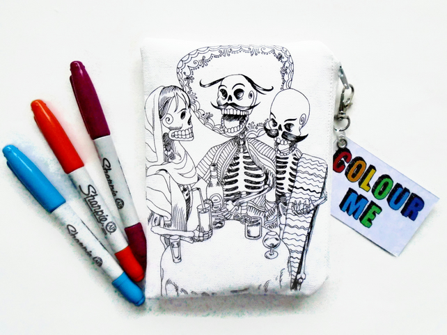 Colour-In Day Of The Dead Wallet